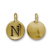 16mm Letter N Charm by TierraCast, Antique Gold