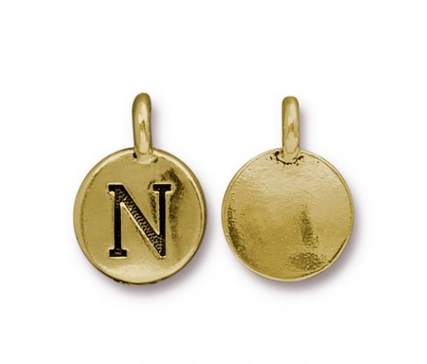16mm Letter N Charm by TierraCast, Antique Gold, 1 Piece