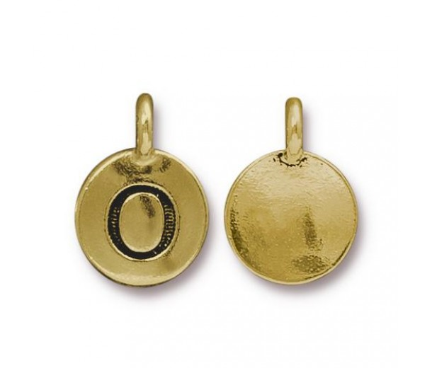 16mm Letter O Charm by TierraCast, Antique Gold, 1 Piece