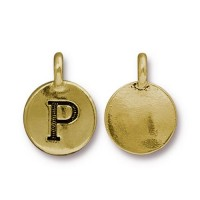 16mm Letter P Charm by TierraCast, Antique Gold, 1 Piece