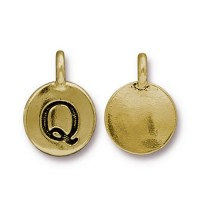 16mm Letter Q Charm by TierraCast, Antique Gold