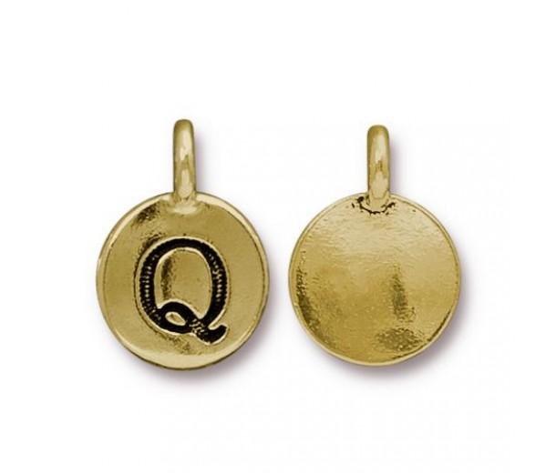 16mm Letter Q Charm by TierraCast, Antique Gold, 1 Piece