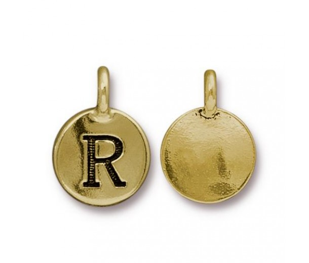 16mm Letter R Charm by TierraCast, Antique Gold, 1 Piece