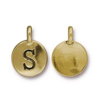16mm Letter S Charm by TierraCast, Antique Gold