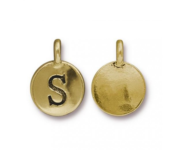 16mm Letter S Charm by TierraCast, Antique Gold, 1 Piece