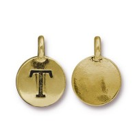 16mm Letter T Charm by TierraCast, Antique Gold, 1 Piece