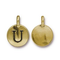 16mm Letter U Charm by TierraCast, Antique Gold, 1 Piece