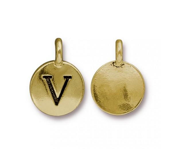 16mm Letter V Charm by TierraCast, Antique Gold, 1 Piece