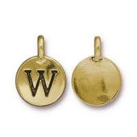 16mm Letter W Charm by TierraCast, Antique Gold