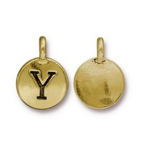 16mm Letter Y Charm by TierraCast, Antique Gold, 1 Piece