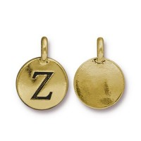 16mm Letter Z Charm by TierraCast, Antique Gold, 1 Piece