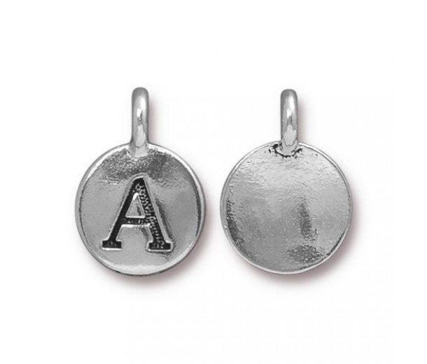 16mm Letter A Charm by TierraCast, Antique Silver, 1 Piece