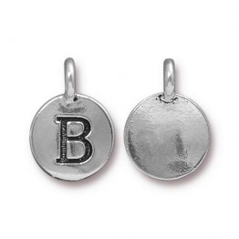 16mm Letter B Charm by TierraCast, Antique Silver