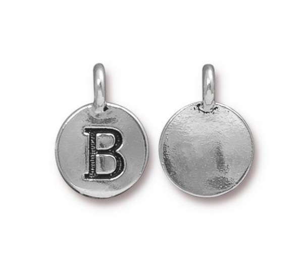 16mm Letter B Charm by TierraCast, Antique Silver, 1 Piece
