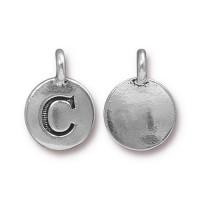 16mm Letter C Charm by TierraCast, Antique Silver, 1 Piece