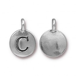 16mm Letter C Charm by TierraCast, Antique Silver