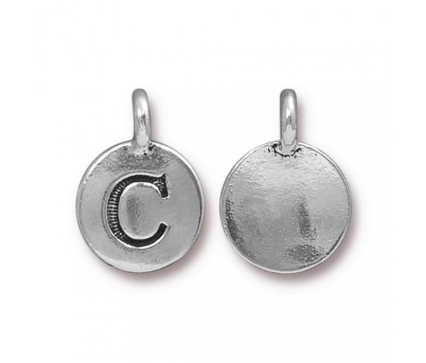 16mm Letter C Charm by TierraCast, Antique Silver, 1 Piece