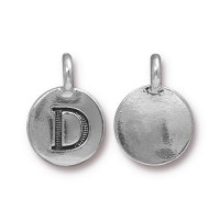 16mm Letter D Charm by TierraCast, Antique Silver, 1 Piece