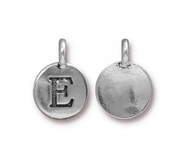 16mm Letter E Charm by TierraCast, Antique Silver, 1 Piece