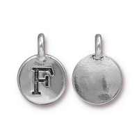 16mm Letter F Charm by TierraCast, Antique Silver