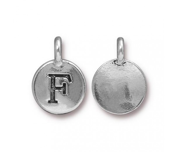 16mm Letter F Charm by TierraCast, Antique Silver, 1 Piece
