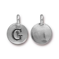 16mm Letter G Charm by TierraCast, Antique Silver, 1 Piece