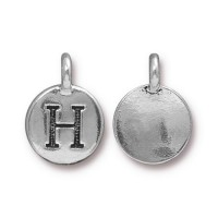 16mm Letter H Charm by TierraCast, Antique Silver, 1 Piece