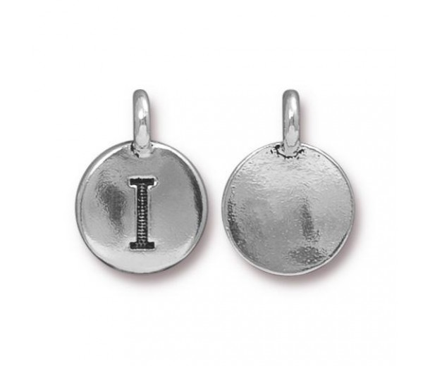 16mm Letter I Charm by TierraCast, Antique Silver, 1 Piece