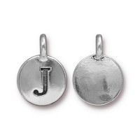 16mm Letter J Charm by TierraCast, Antique Silver