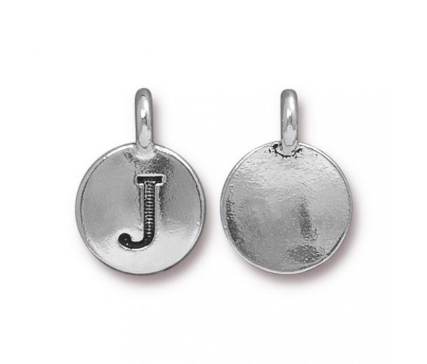 16mm Letter J Charm by TierraCast, Antique Silver, 1 Piece