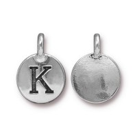 16mm Letter K Charm by TierraCast, Antique Silver, 1 Piece