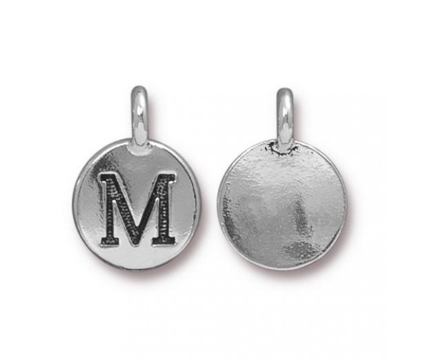 16mm Letter M Charm by TierraCast, Antique Silver, 1 Piece