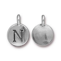 16mm Letter N Charm by TierraCast, Antique Silver, 1 Piece