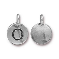 16mm Letter O Charm by TierraCast, Antique Silver, 1 Piece