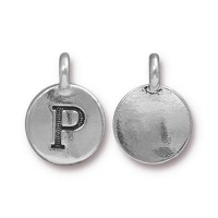 16mm Letter P Charm by TierraCast, Antique Silver, 1 Piece