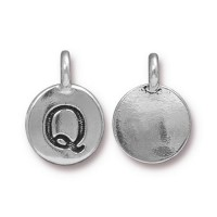 16mm Letter Q Charm by TierraCast, Antique Silver