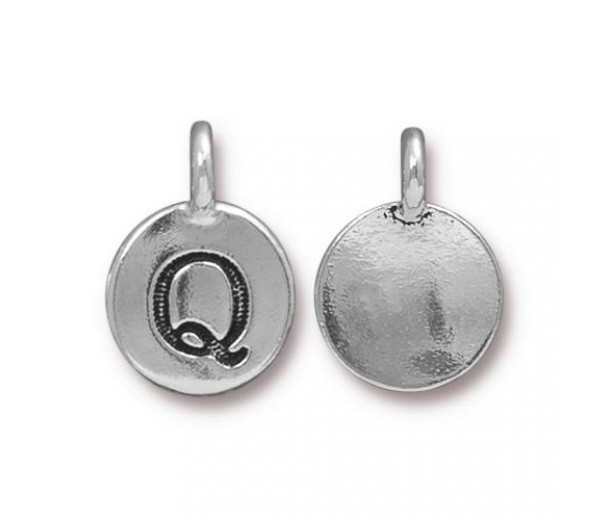 16mm Letter Q Charm by TierraCast, Antique Silver, 1 Piece