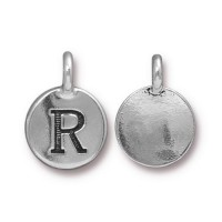 16mm Letter R Charm by TierraCast, Antique Silver