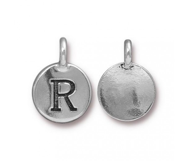 16mm Letter R Charm by TierraCast, Antique Silver, 1 Piece