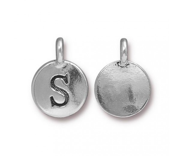 16mm Letter S Charm by TierraCast, Antique Silver, 1 Piece
