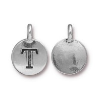 16mm Letter T Charm by TierraCast, Antique Silver