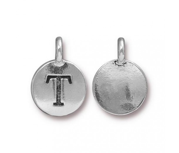 16mm Letter T Charm by TierraCast, Antique Silver, 1 Piece