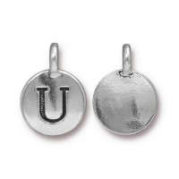 16mm Letter U Charm by TierraCast, Antique Silver, 1 Piece