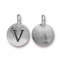 16mm Letter V Charm by TierraCast, Antique Silver, 1 Piece