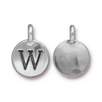 16mm Letter W Charm by TierraCast, Antique Silver