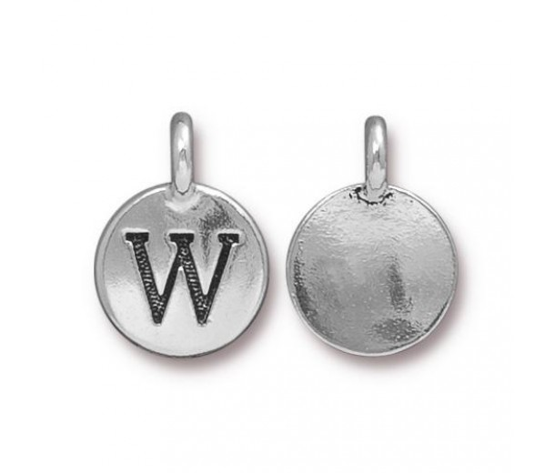 16mm Letter W Charm by TierraCast, Antique Silver, 1 Piece