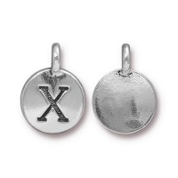 16mm Letter X Charm by TierraCast, Antique Silver, 1 Piece