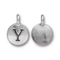 16mm Letter Y Charm by TierraCast, Antique Silver, 1 Piece