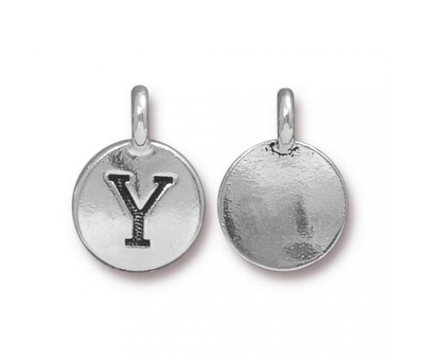 16mm Letter Y Charm by TierraCast, Antique Silver
