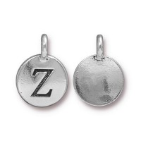 16mm Letter Z Charm by TierraCast, Antique Silver, 1 Piece